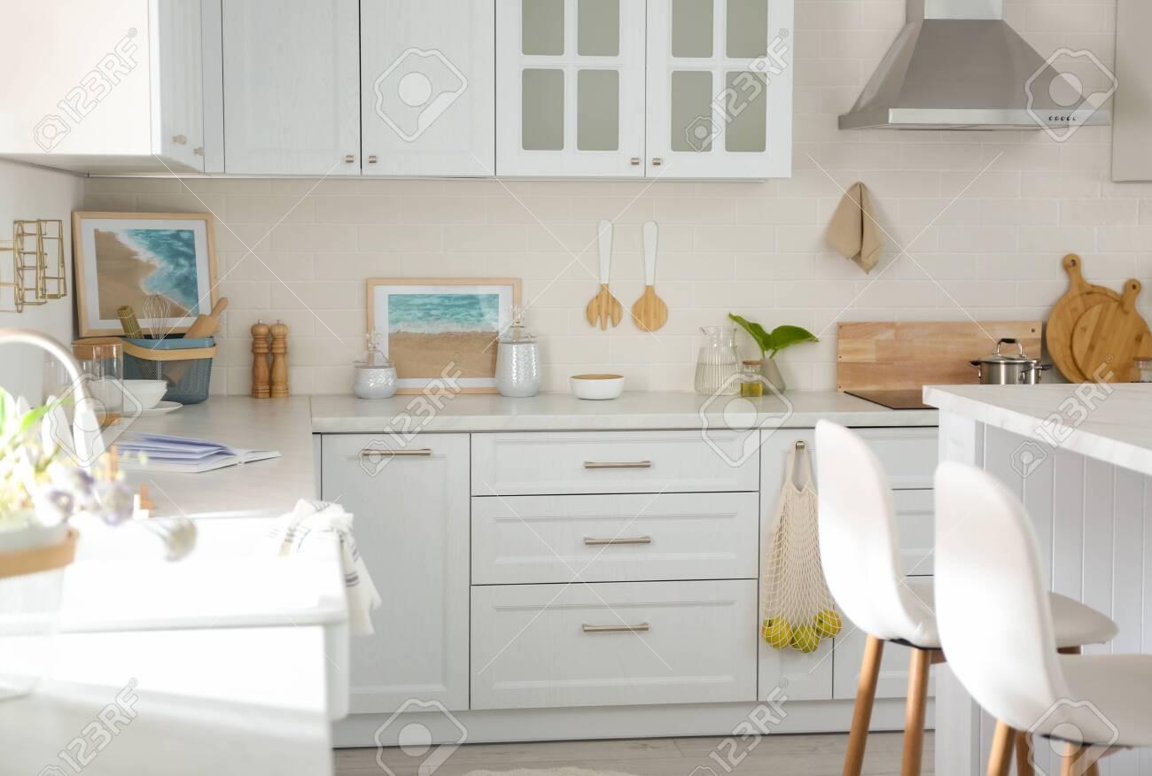 Beautiful kitchen interior with new stylish furniture - 151162788