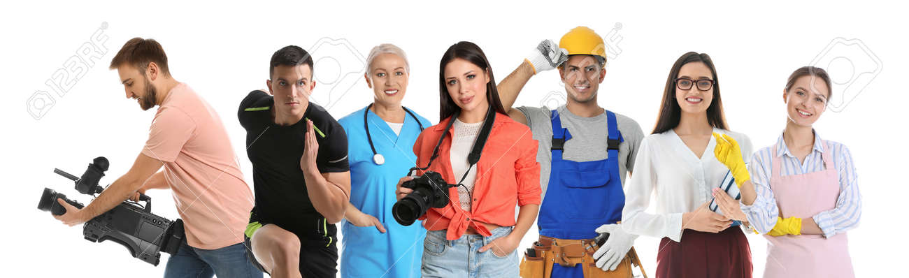 Career choice. People of different professions on white background, banner design - 156199630