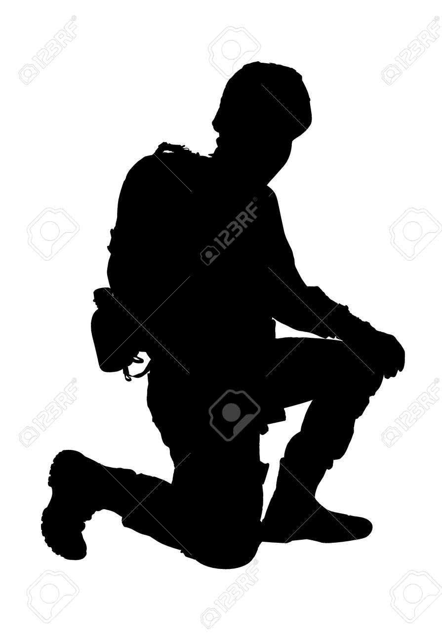 Silhouette of soldier on white background. Military service - 155613235