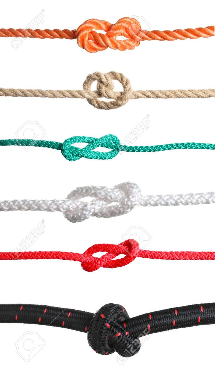 Set of different ropes with knots on white background - 152330805