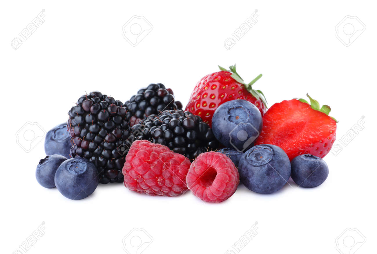 Mix of different fresh berries isolated on white - 153005143
