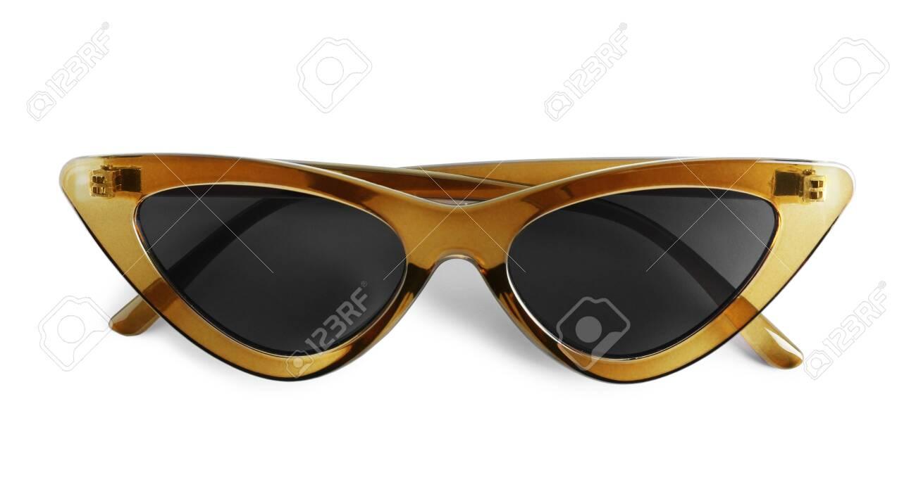 Stylish sunglasses on white background. Summer accessory - 153050042