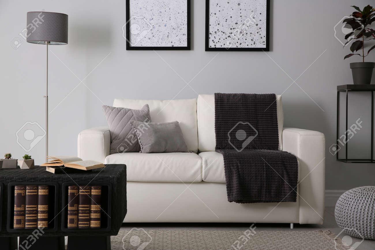 Modern comfortable sofa in stylish living room interior - 155868804