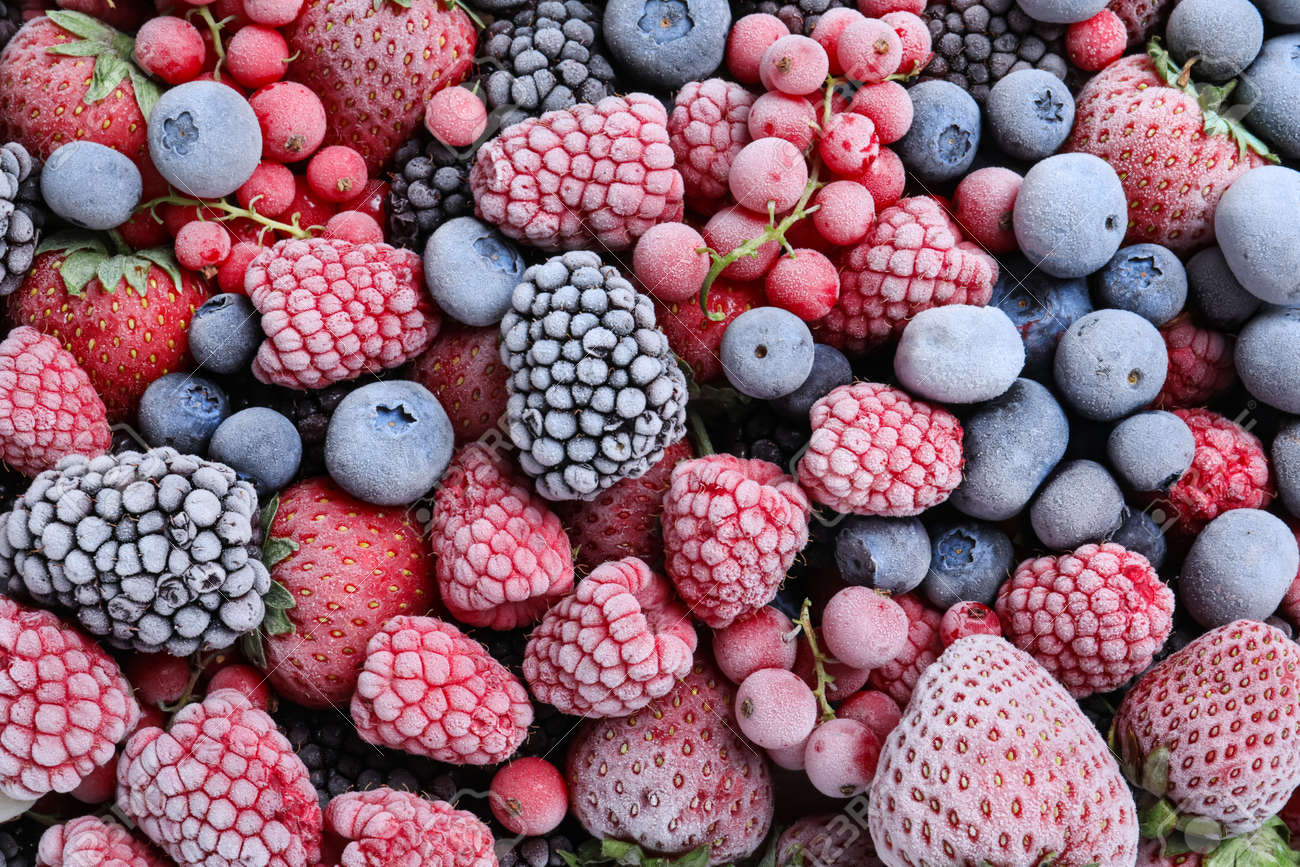 Mix of different frozen berries as background, top view - 154099334