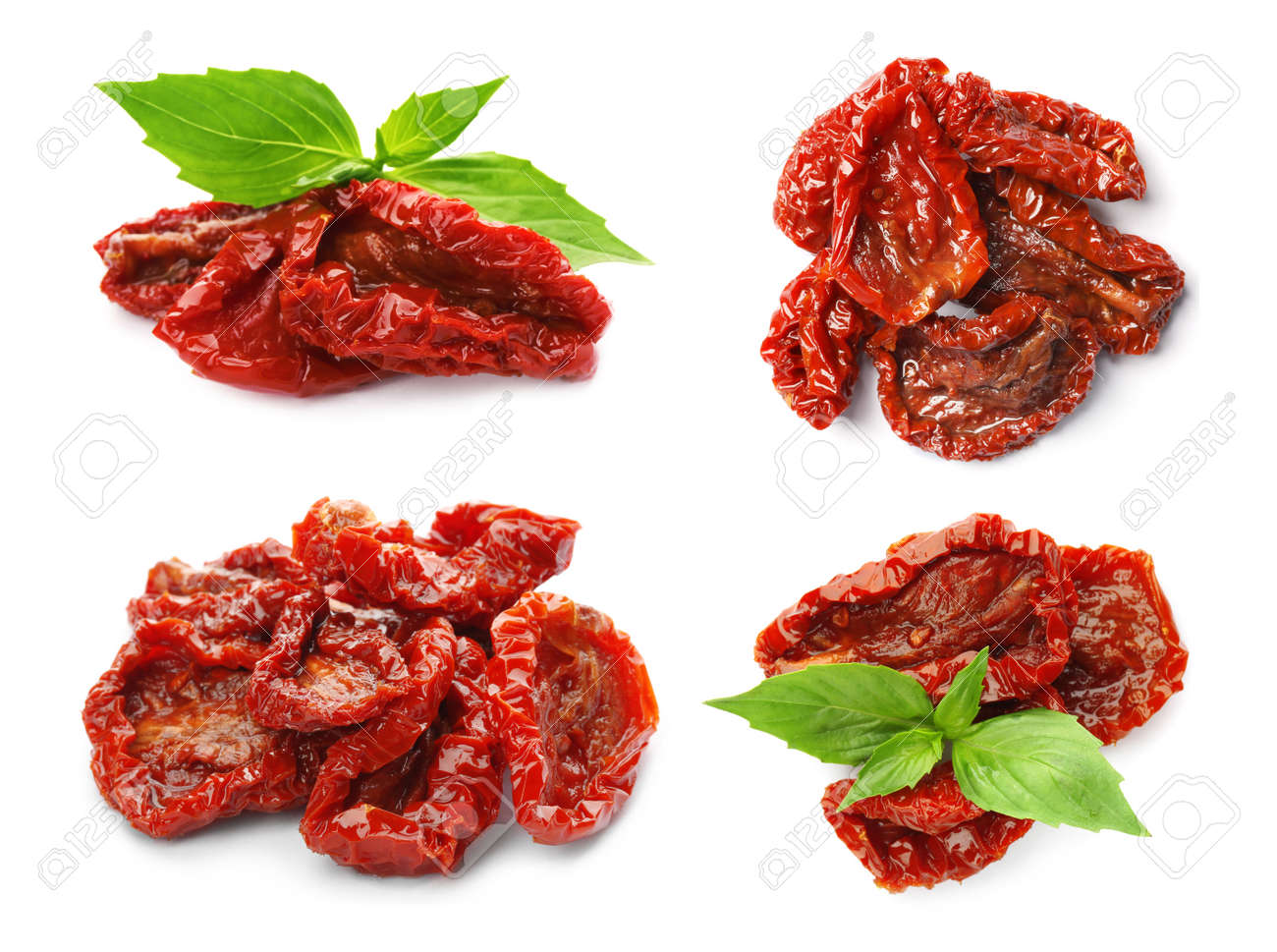 Set of tasty sun dried tomatoes on white background - 154572033