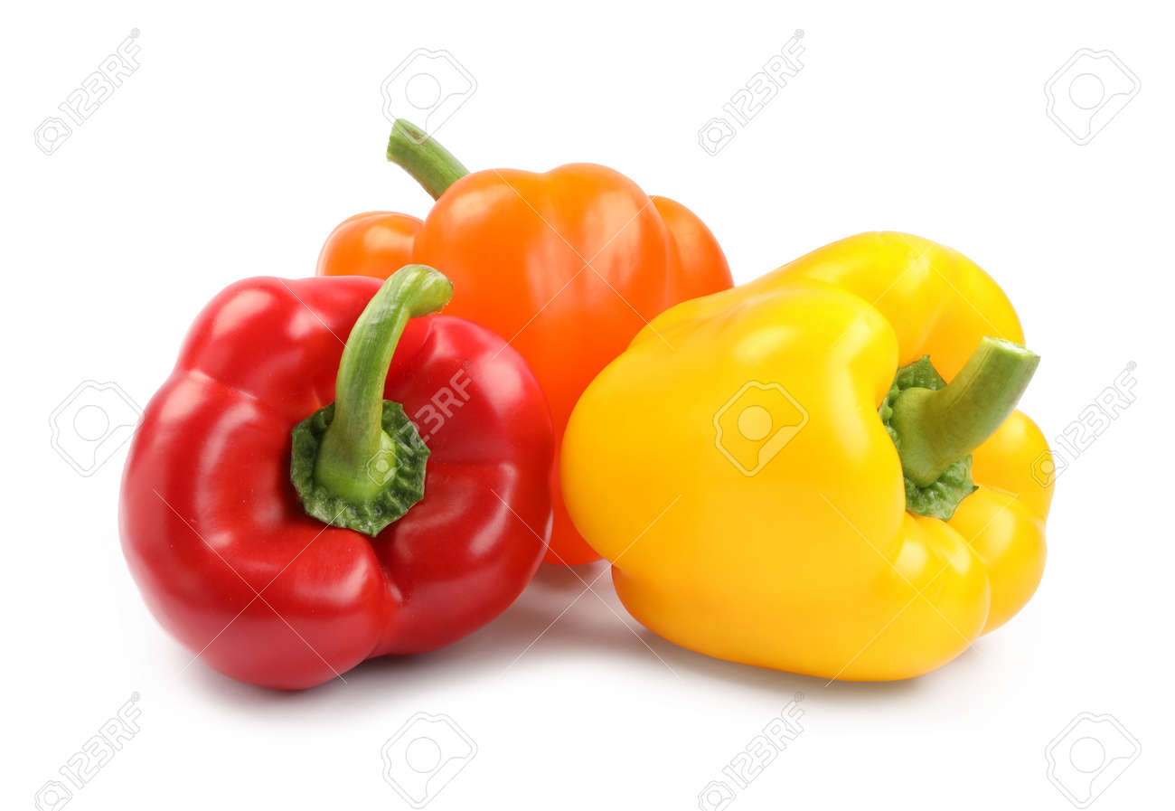 Fresh ripe bell peppers on white background - 154446754