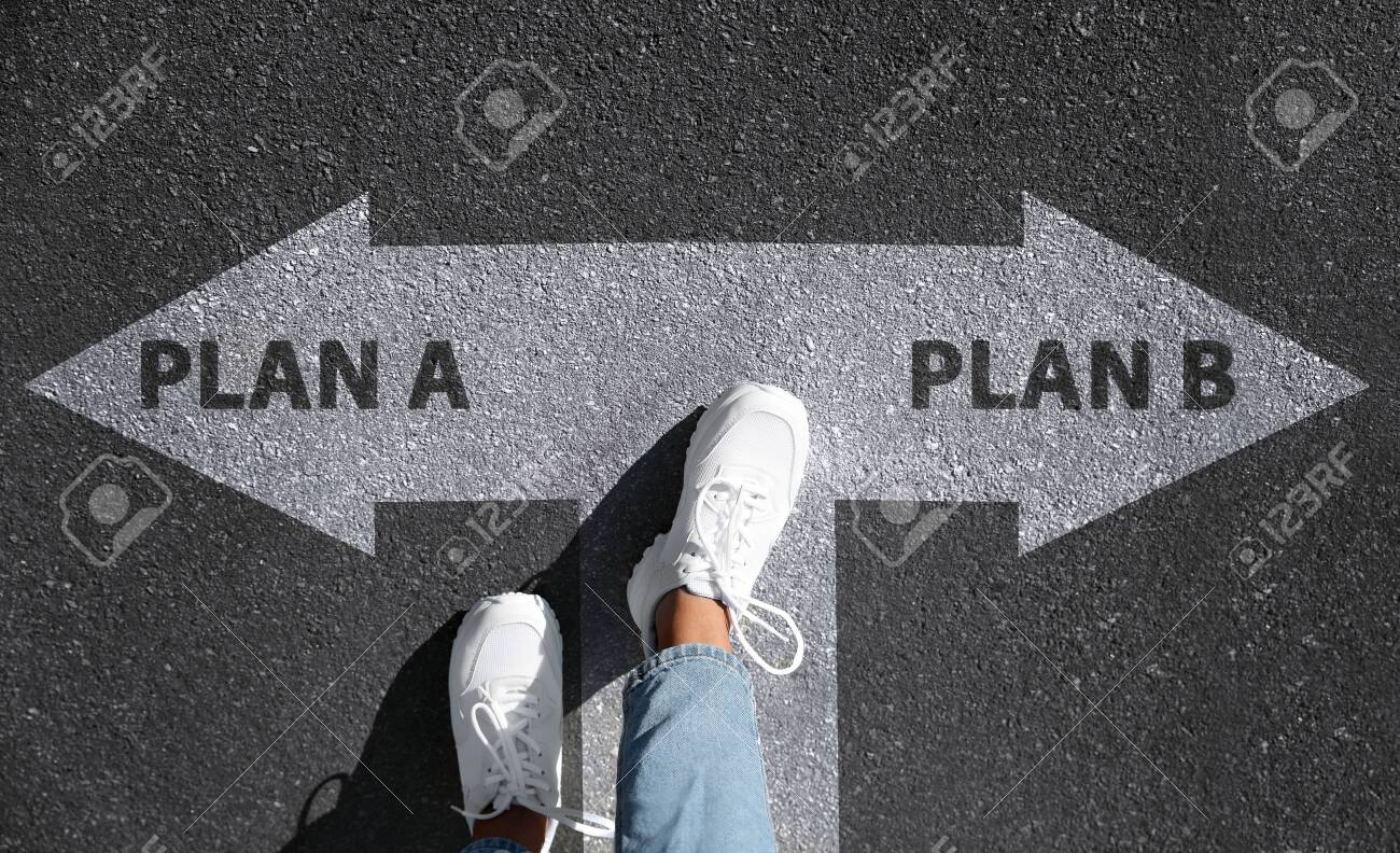 Choosing between Plan A and Plan B. Woman near pointers on road, above view - 154797613