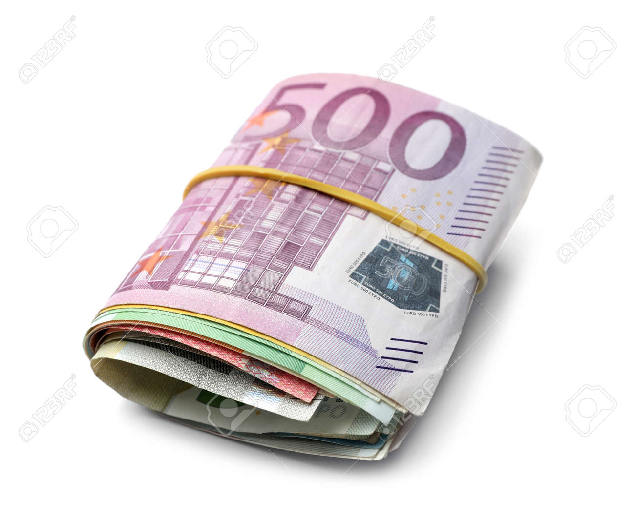 Different Euro banknotes with rubber band on white background - 155444877