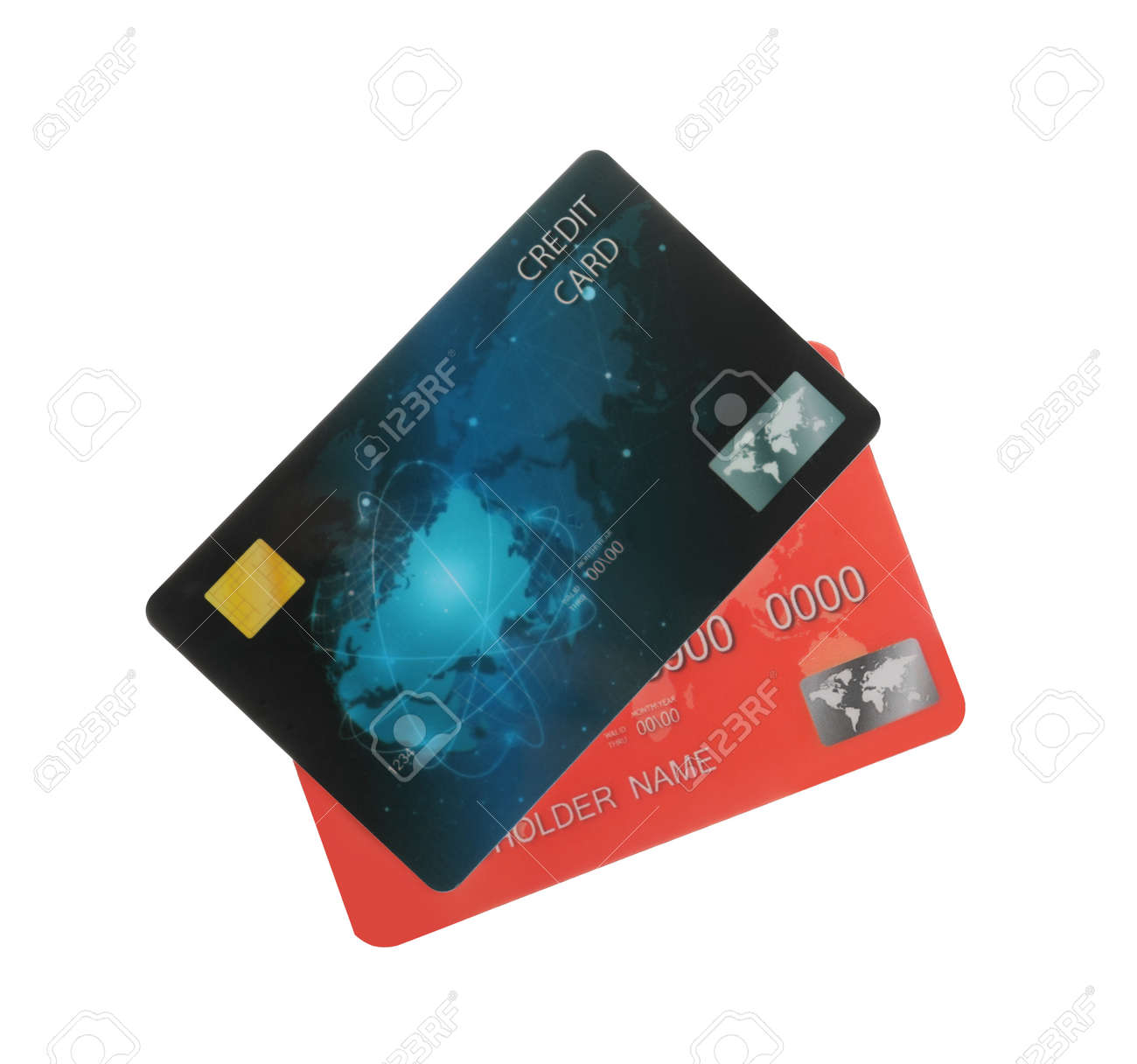 Different plastic credit cards on white background - 155830150