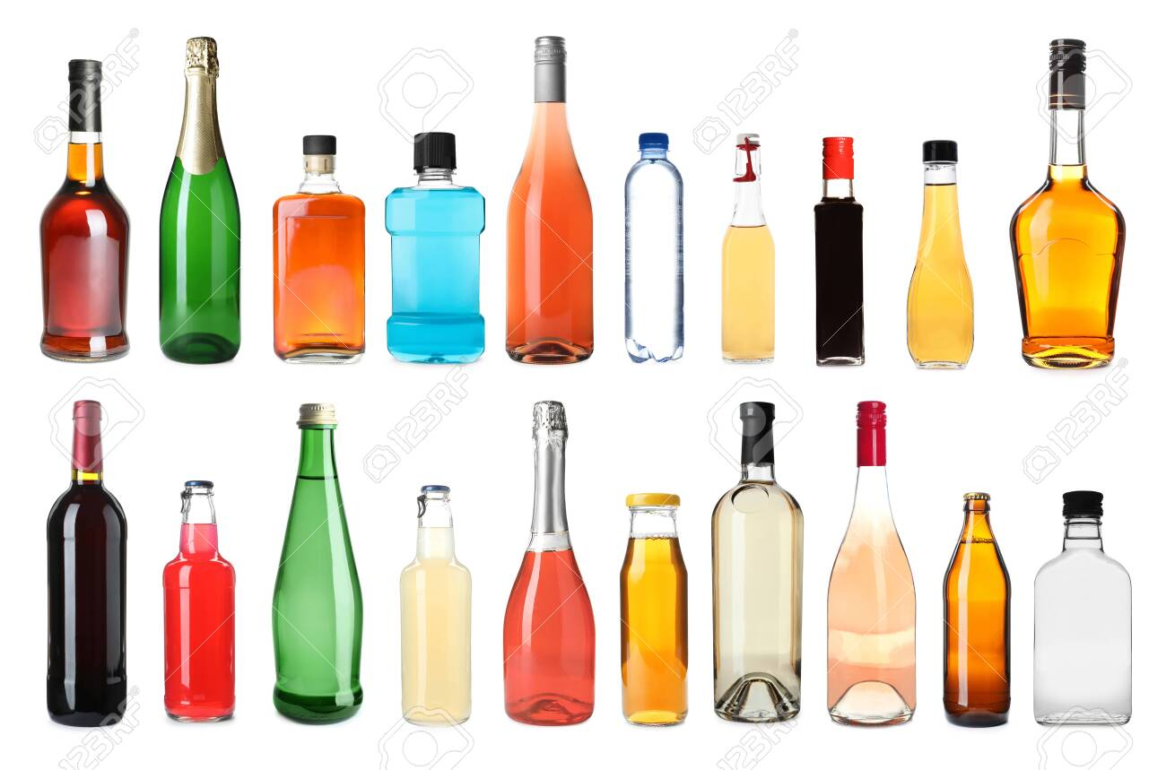 Set of bottles with different liquids on white background - 156033504
