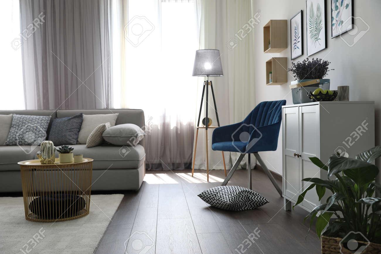 Elegant living room with comfortable sofa and armchair near window. Interior design - 156576926