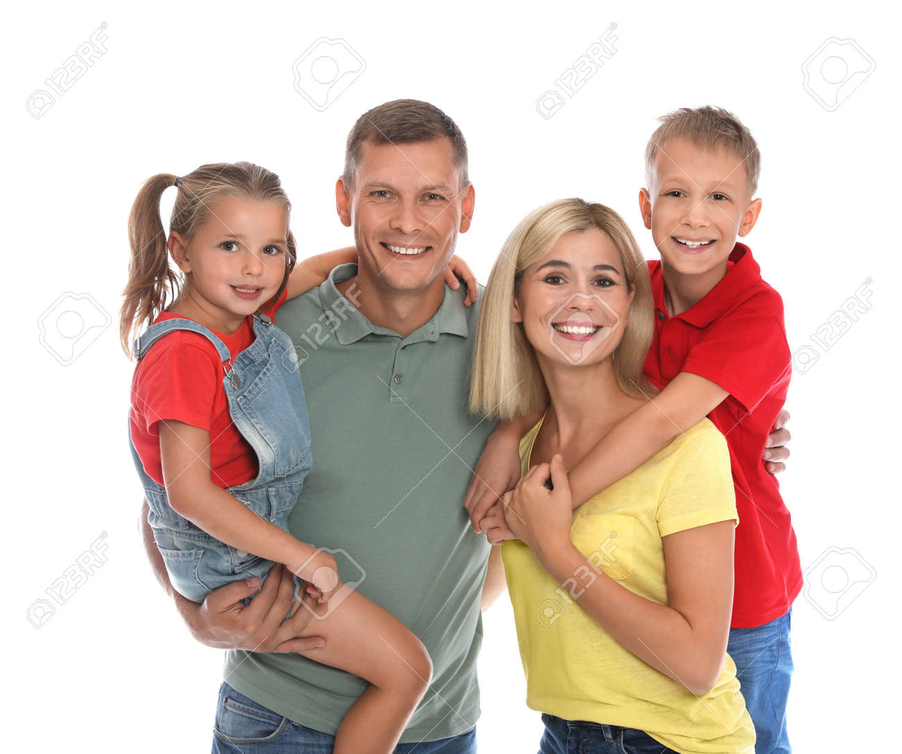 Happy family with children on white background - 156577969