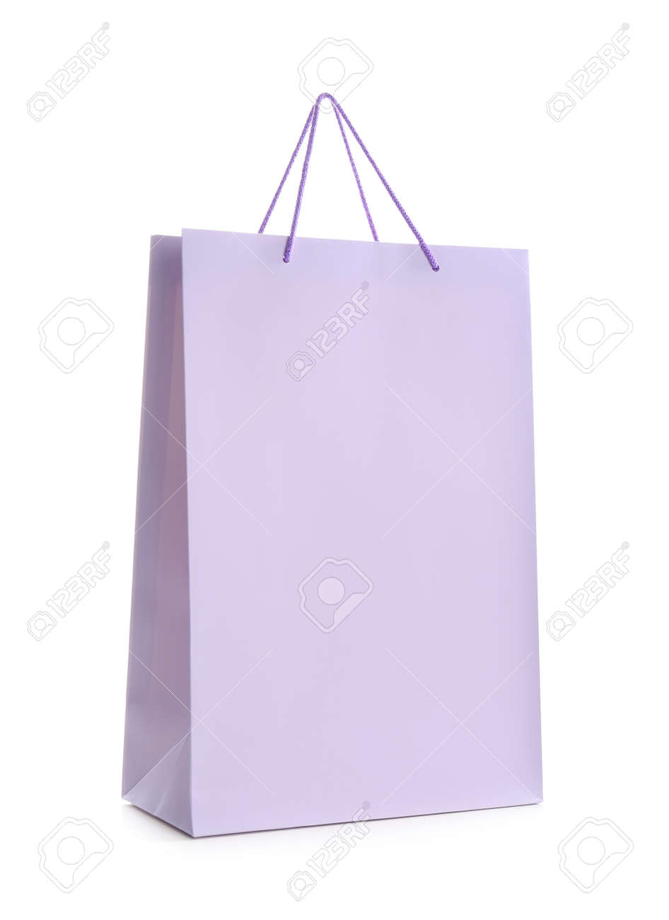 Lilac paper shopping bag isolated on white - 156939294