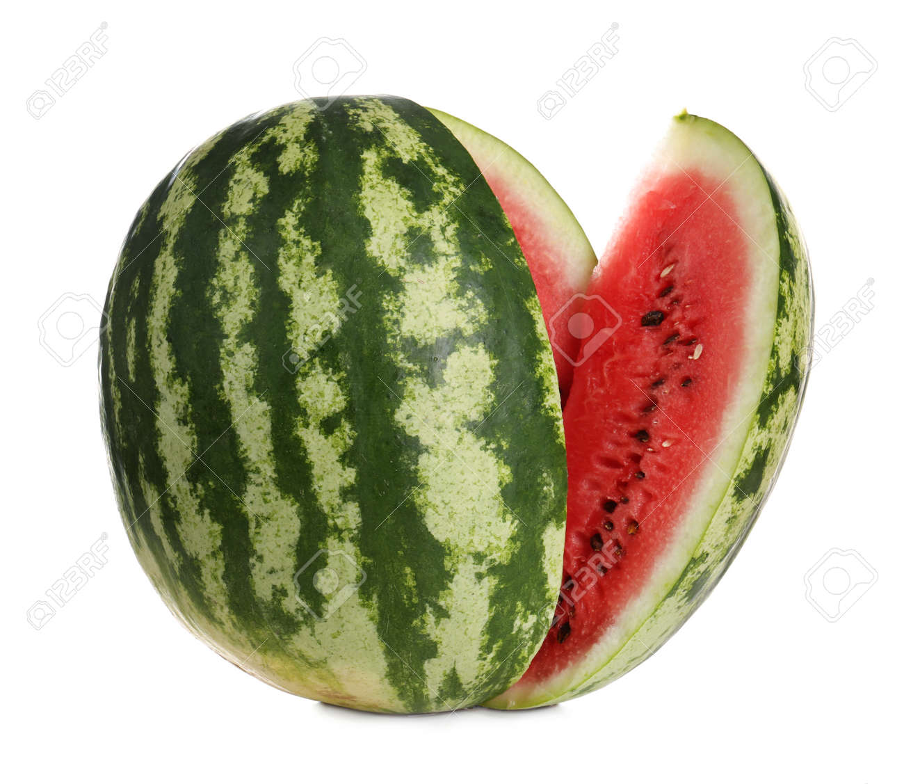 Delicious ripe cut watermelon isolated on white - 157463684