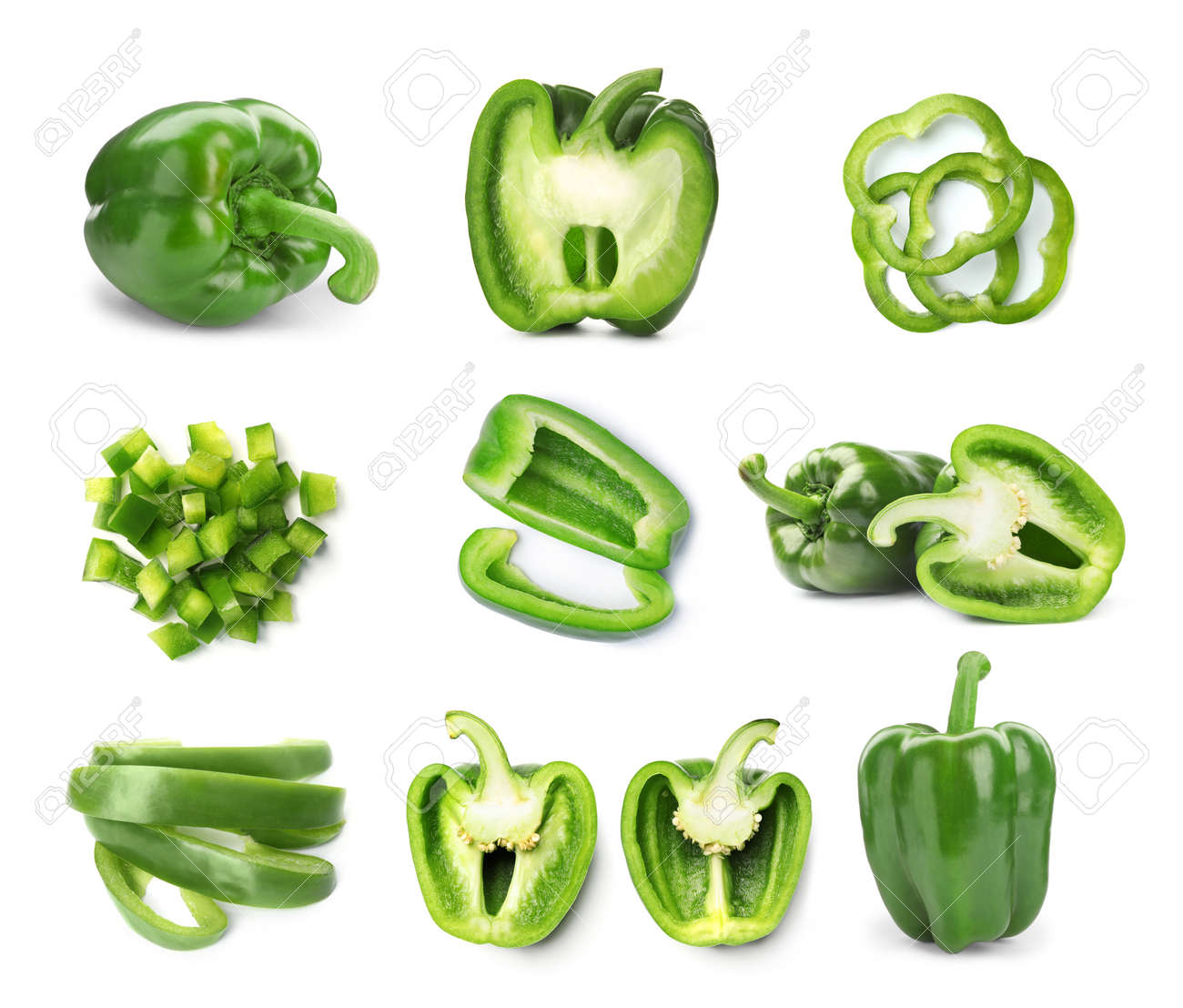 Set of cut and whole green bell peppers on white background - 157208562