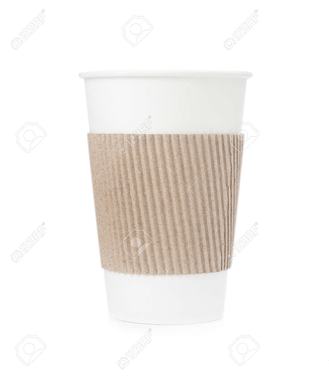 Takeaway paper coffee cup with cardboard sleeve isolated on white - 158336141