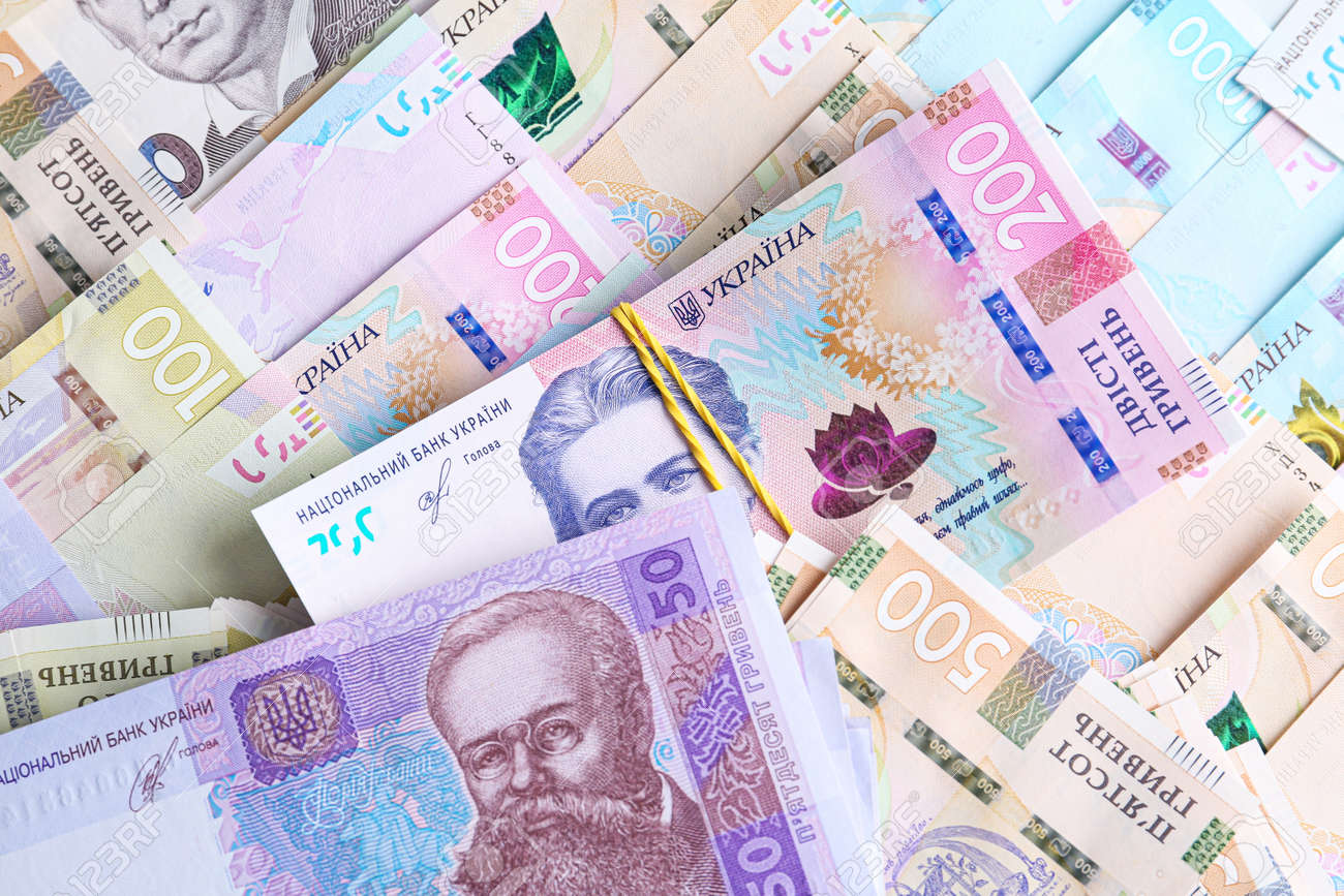 Ukrainian money as background, top view. National currency - 158768391