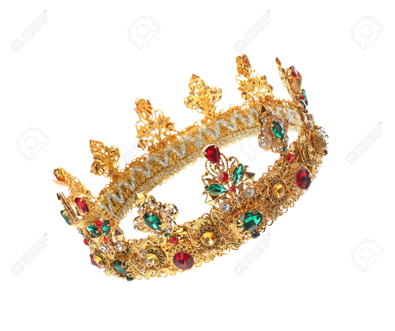 Beautiful golden crown on white background. Fantasy item - 159107307