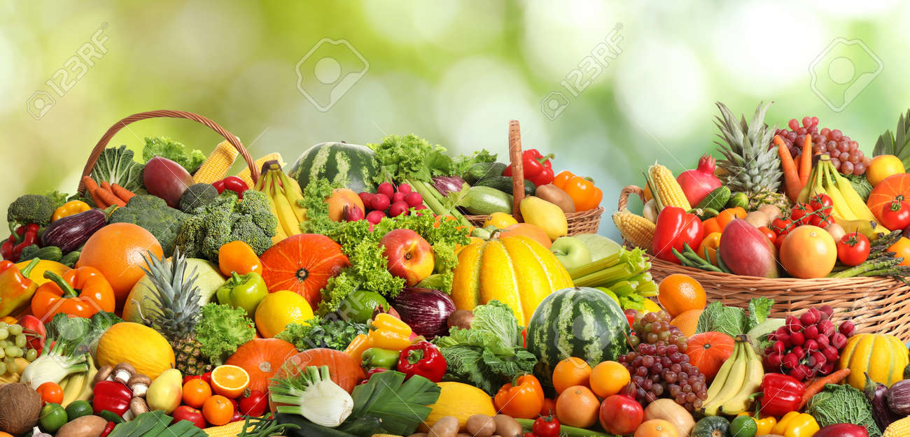 Assortment of fresh organic vegetables and fruits on blurred green background. Banner design - 159307094