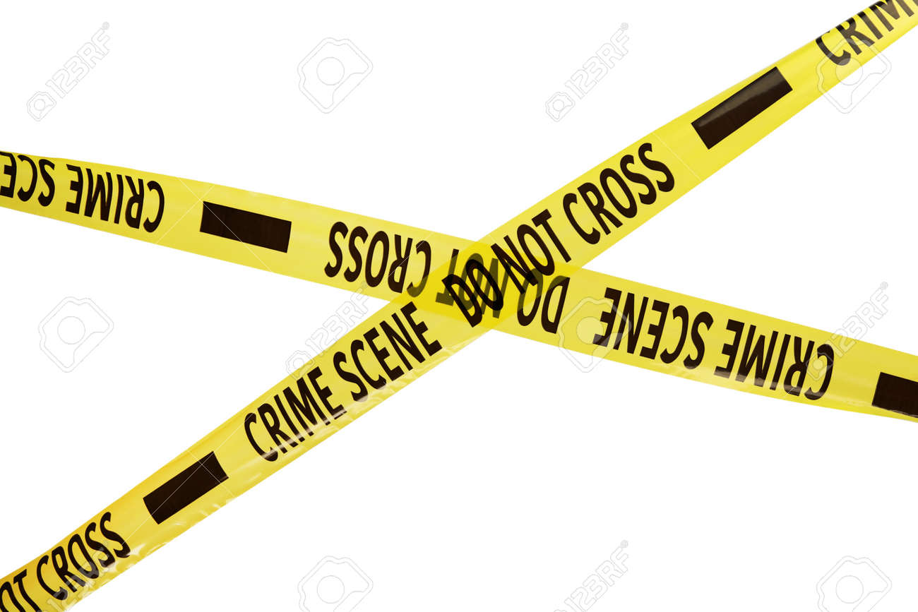 Yellow crime scene tapes isolated on white - 159726355