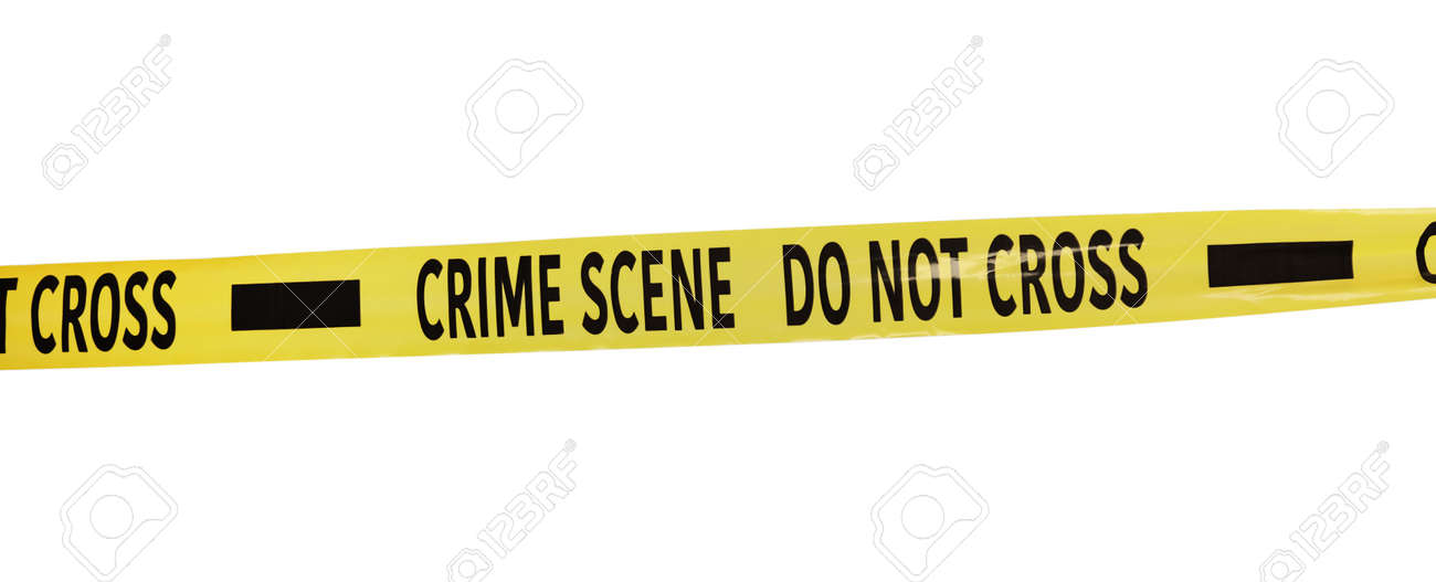 Yellow crime scene tape isolated on white - 159726820
