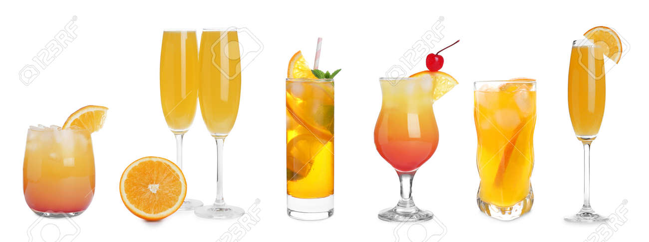 Set with delicious Mimosa cocktails on white background, banner design - 165172279