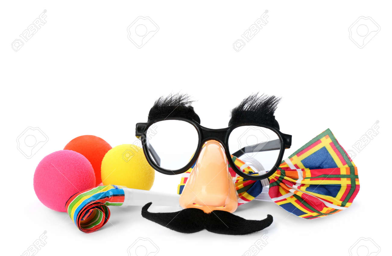 Different funny clown's accessories on white background - 165791890
