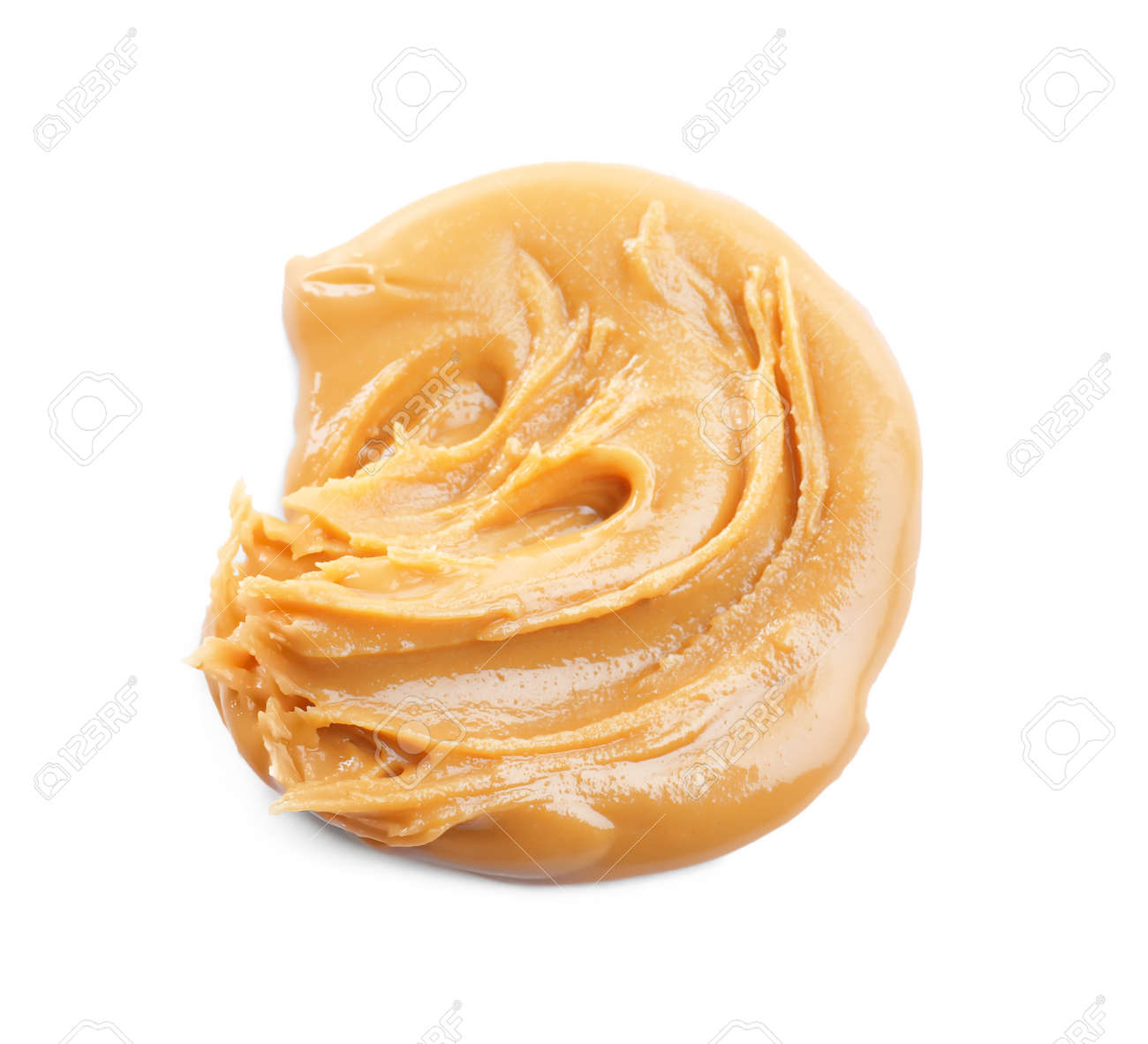 Delicious peanut butter isolated on white, top view - 166230755