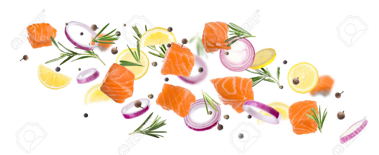 Pieces of delicious fresh raw salmon and different spices on white background. Banner design - 166333647