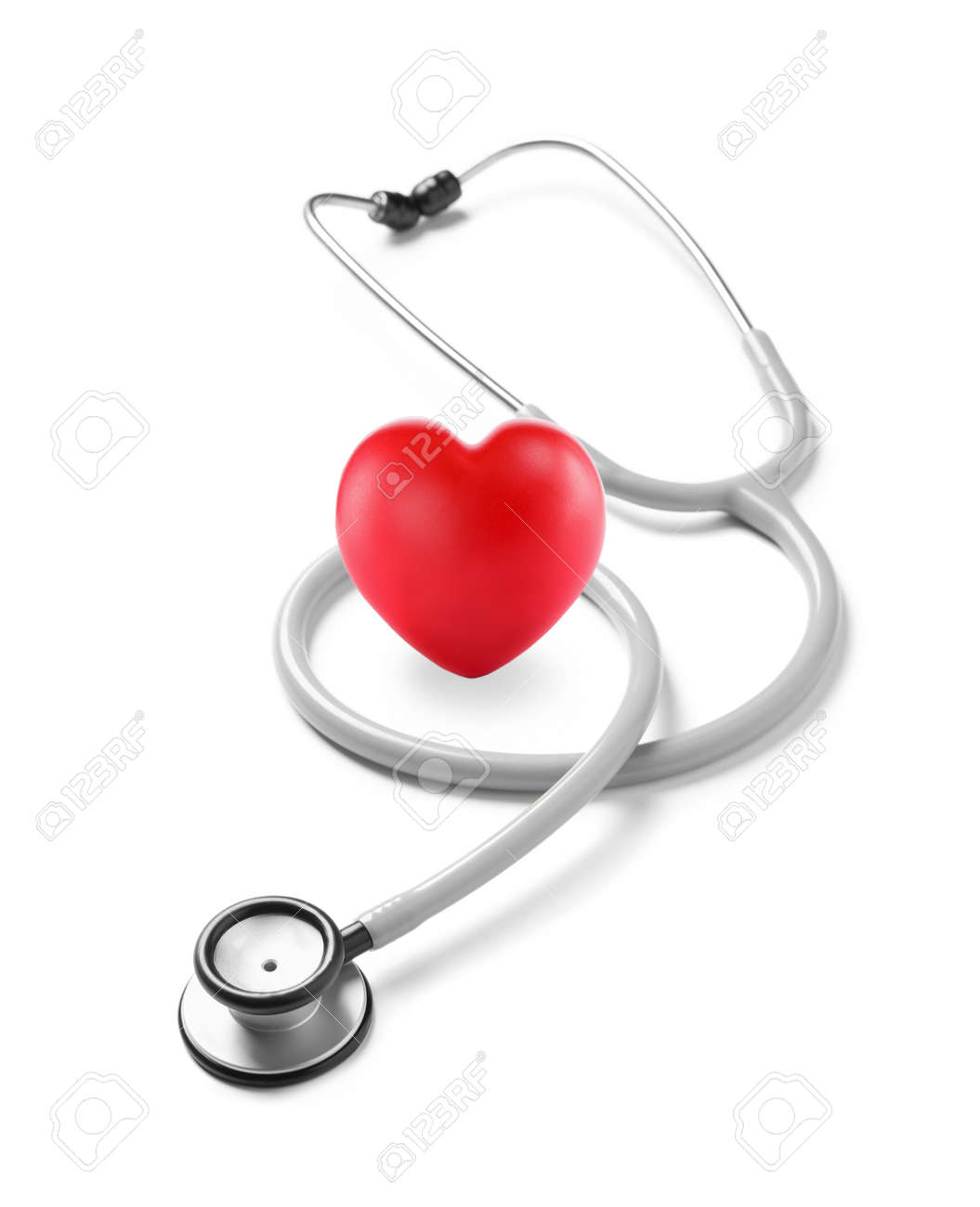 Stethoscope and red heart on white background - 166363491
