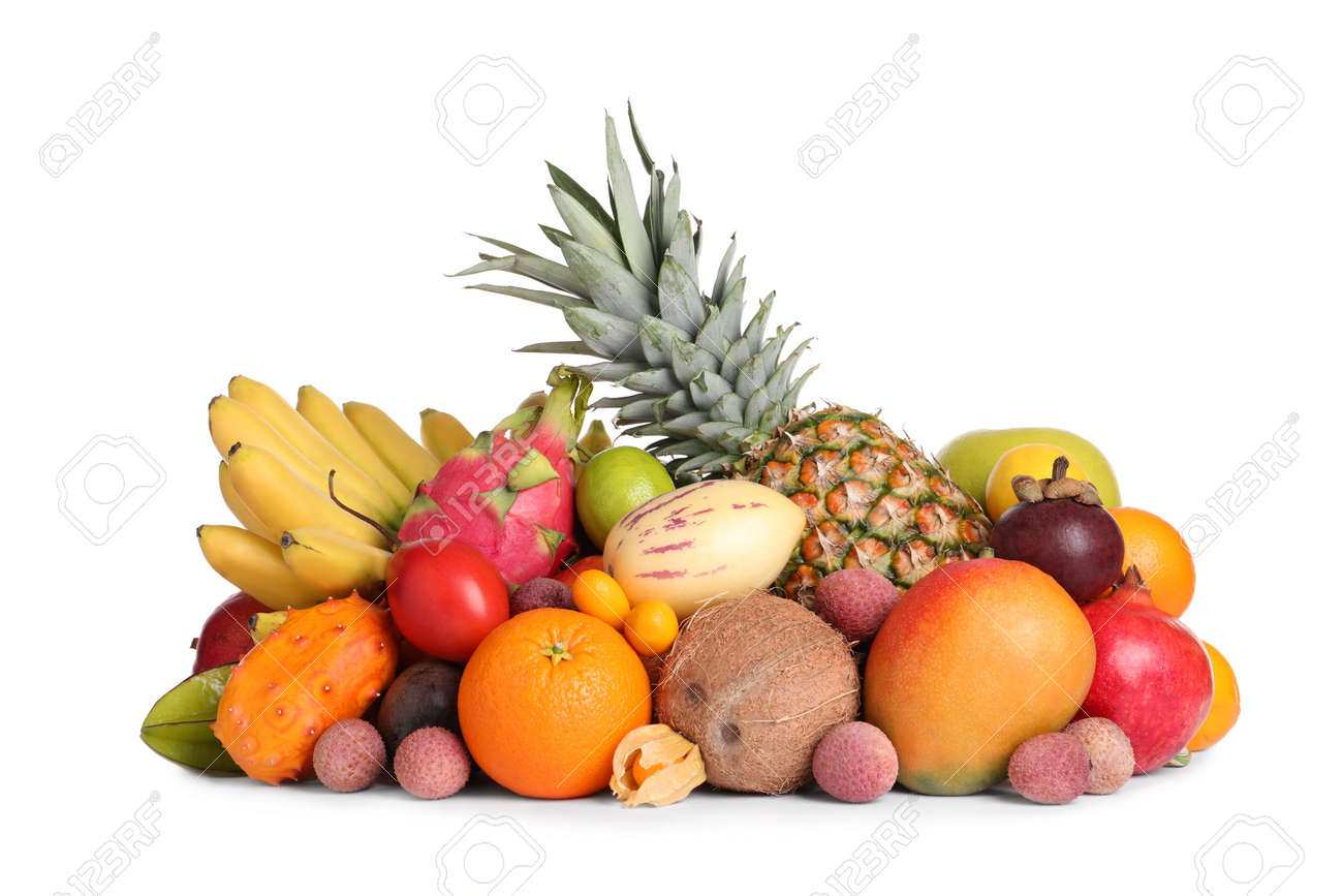 Different ripe exotic fruits on white background - 166507882