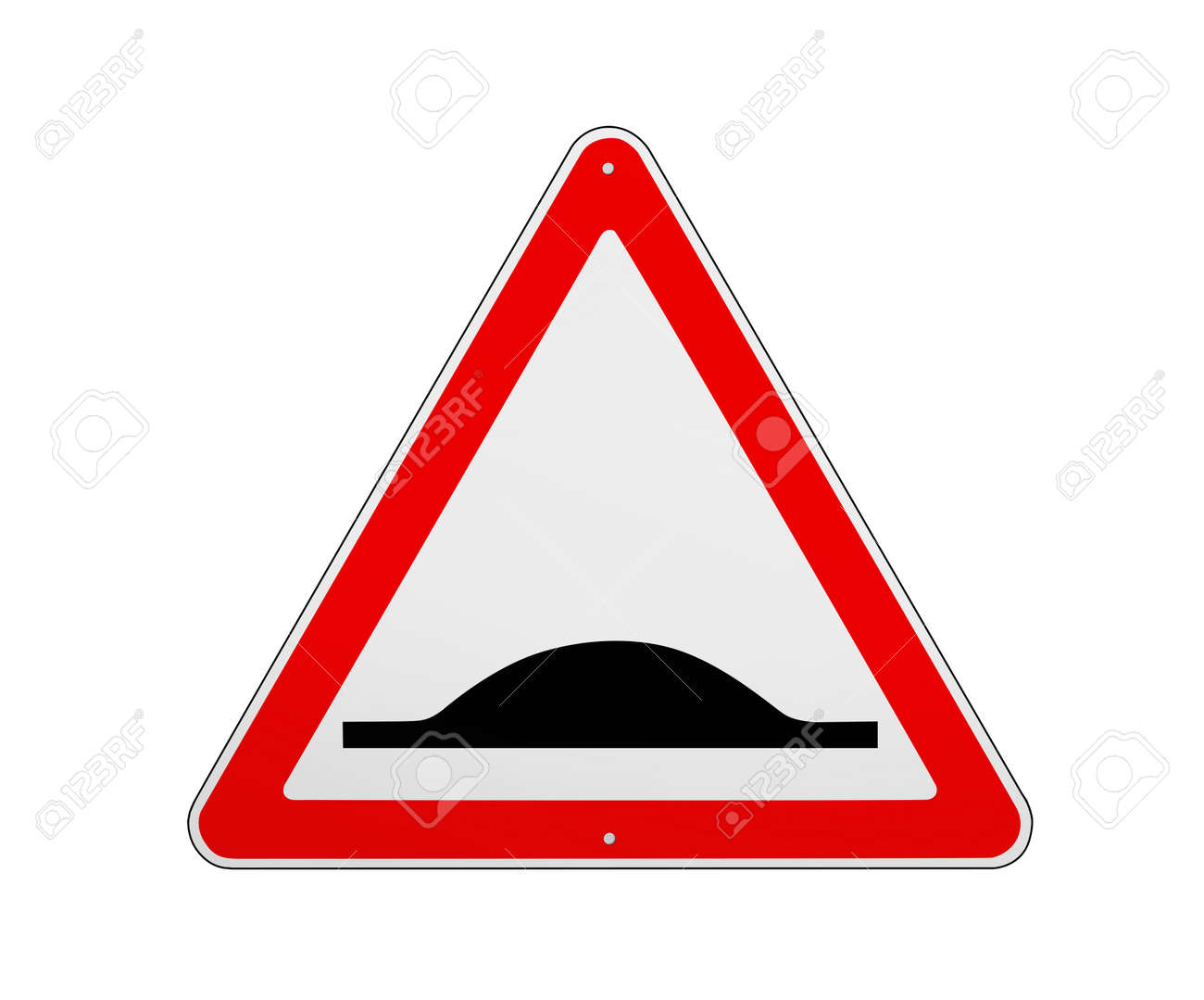 Road sign Speed Bump isolated on white, illustration - 167257869