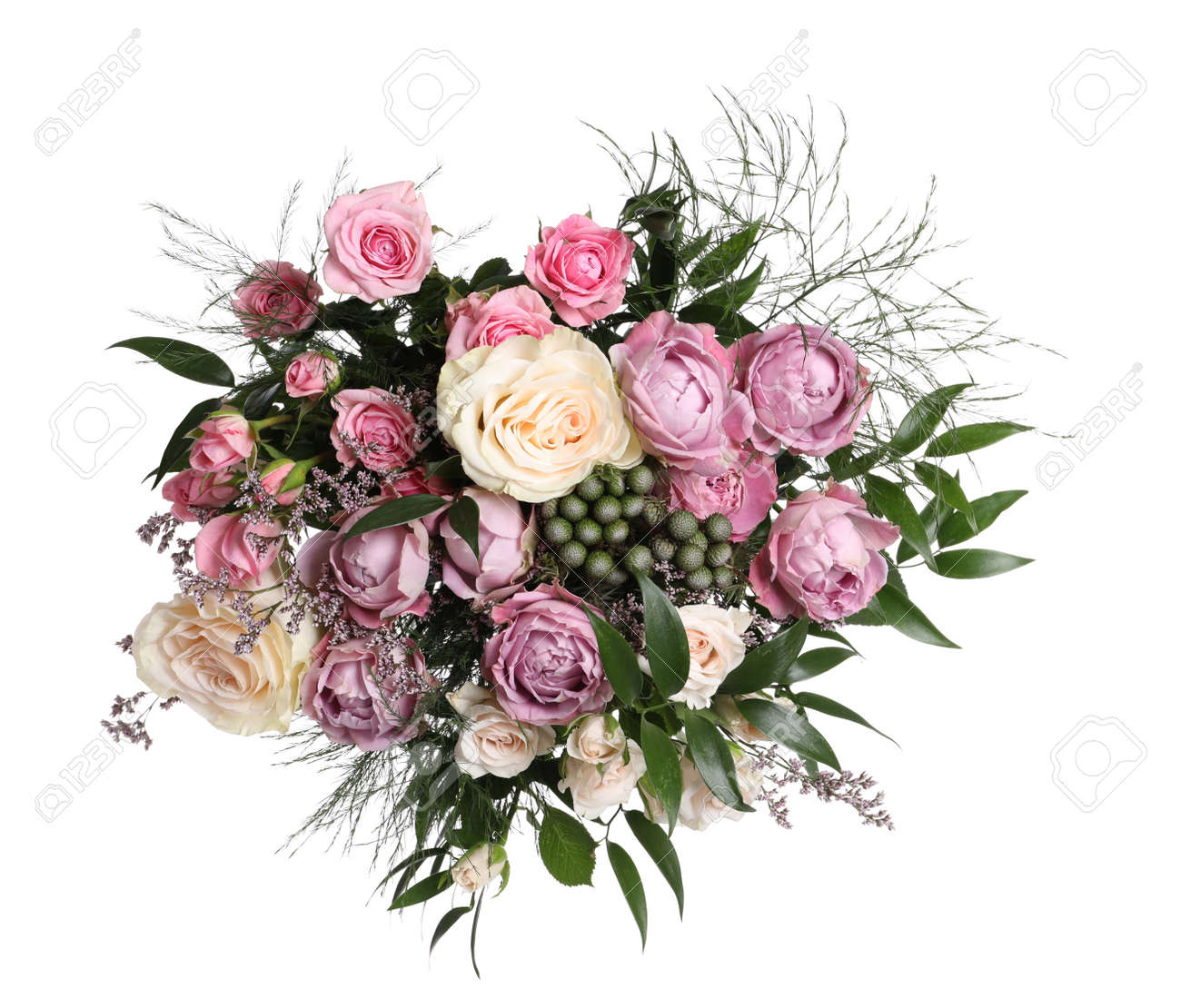Beautiful bouquet with roses isolated on white - 167345012