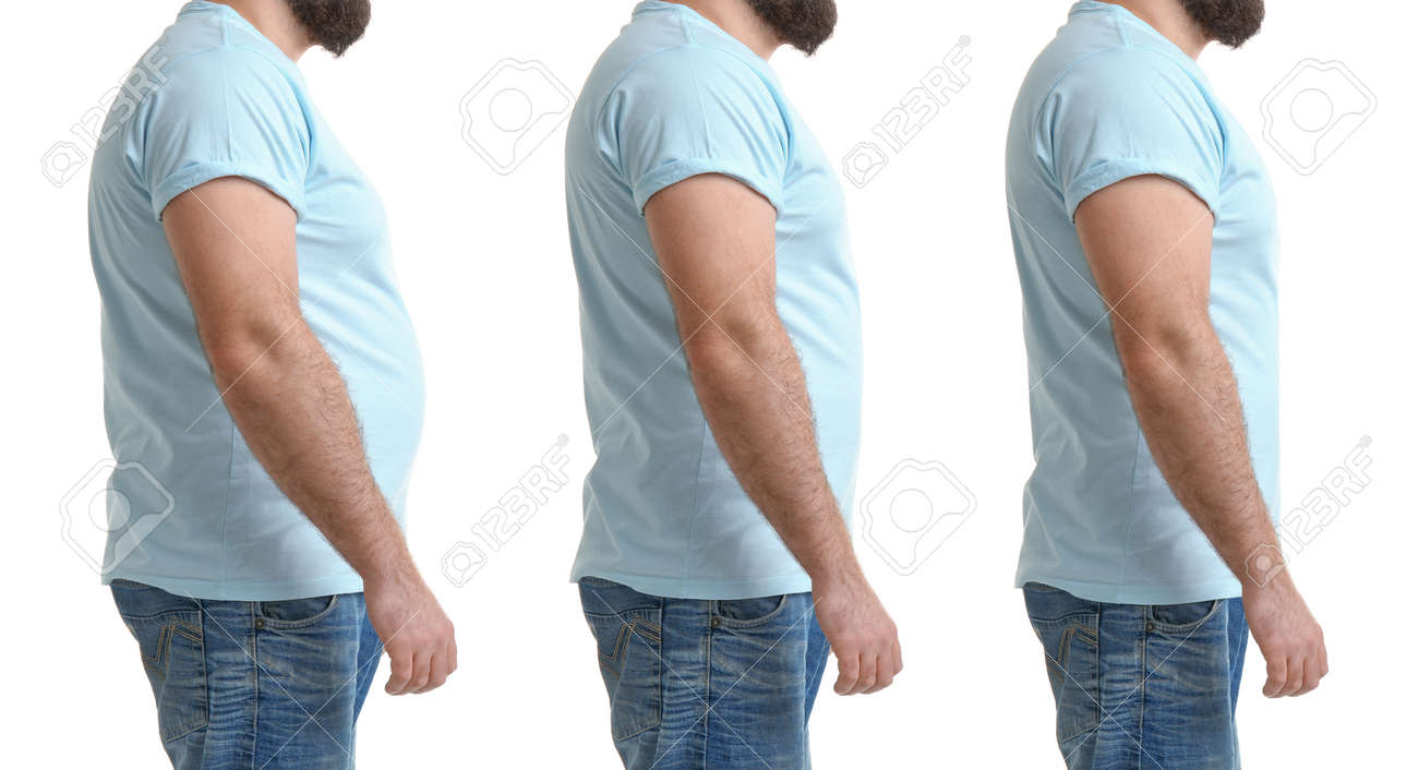 Man before and after weight loss on white background, collage - 167885299