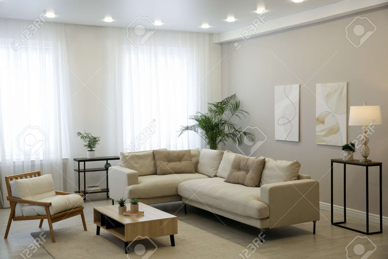 Big comfortable sofa in living room. Interior design - 168325695