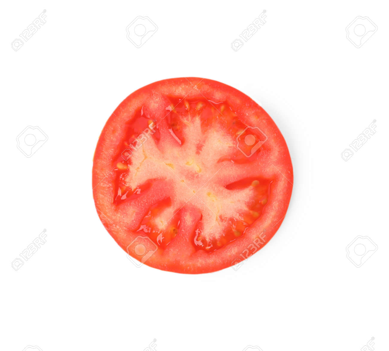 Slice of ripe tomato isolated on white, top view - 168463418