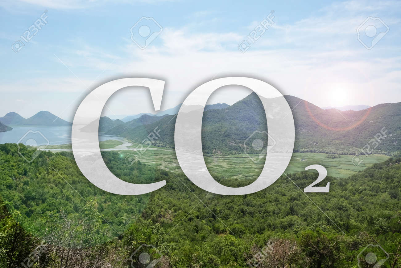Concept of clear air. CO2 inscription and beautiful mountain landscape - 168745740