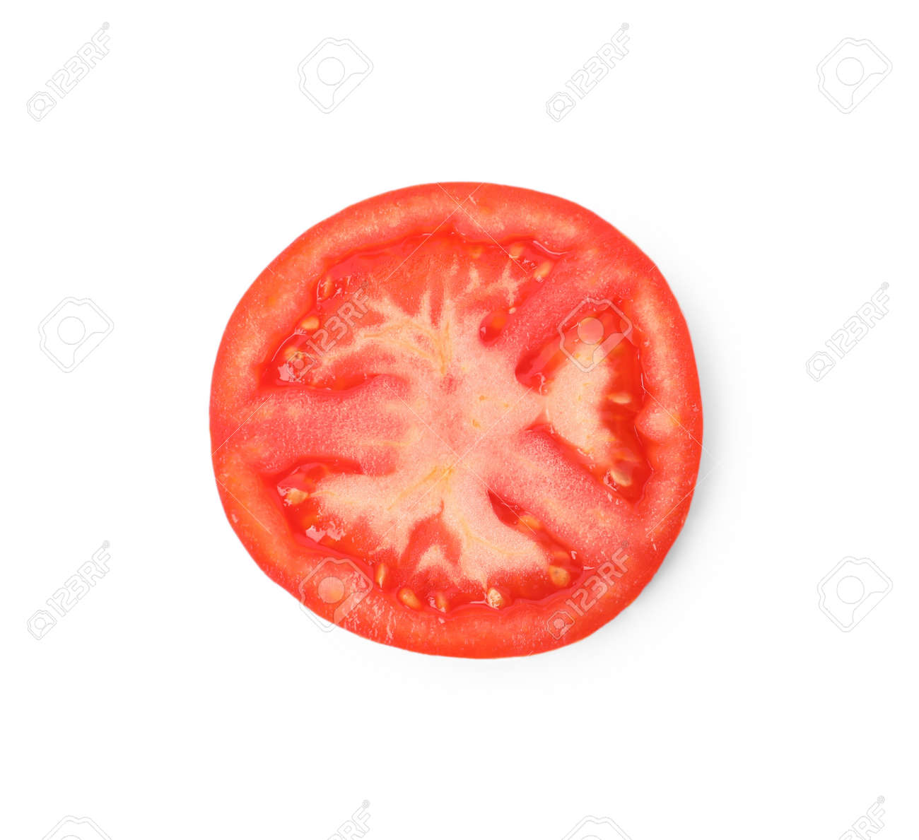 Slice of ripe tomato isolated on white, top view - 168745775