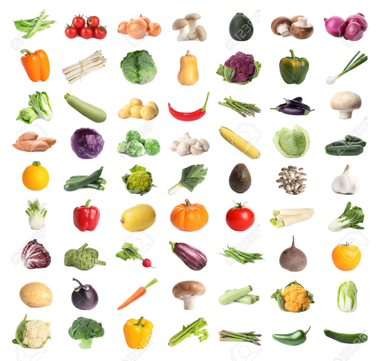 Collection of different fresh vegetables on white background - 169061510
