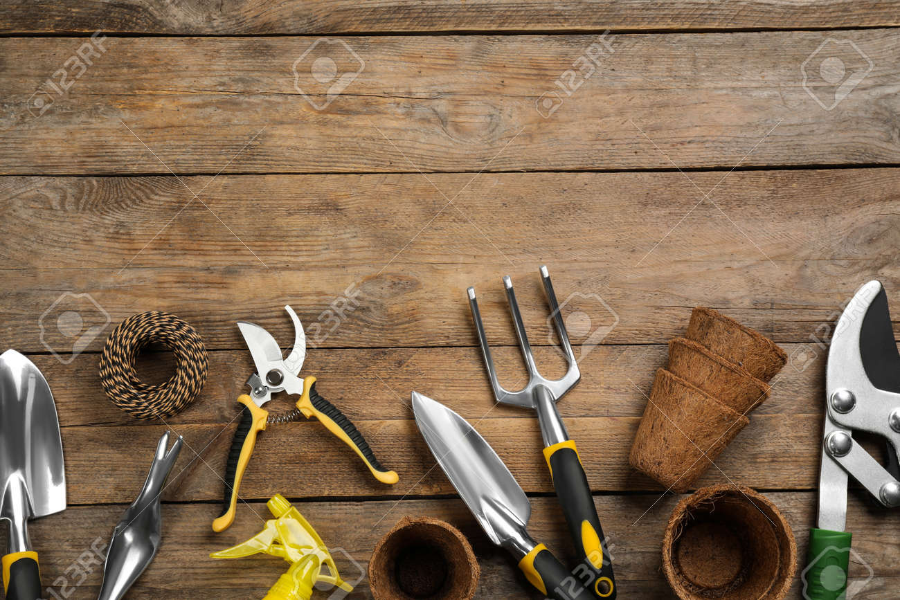 Flat lay composition with gardening tools on wooden background, space for text - 169007688
