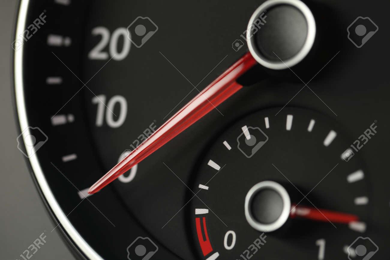 Closeup view of modern electronic car speedometer - 169464707