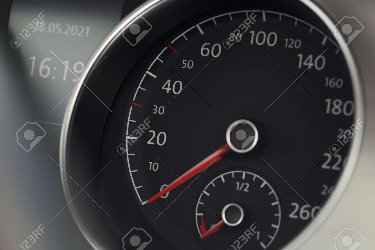 Speedometer on modern car dashboard, closeup view - 169549530