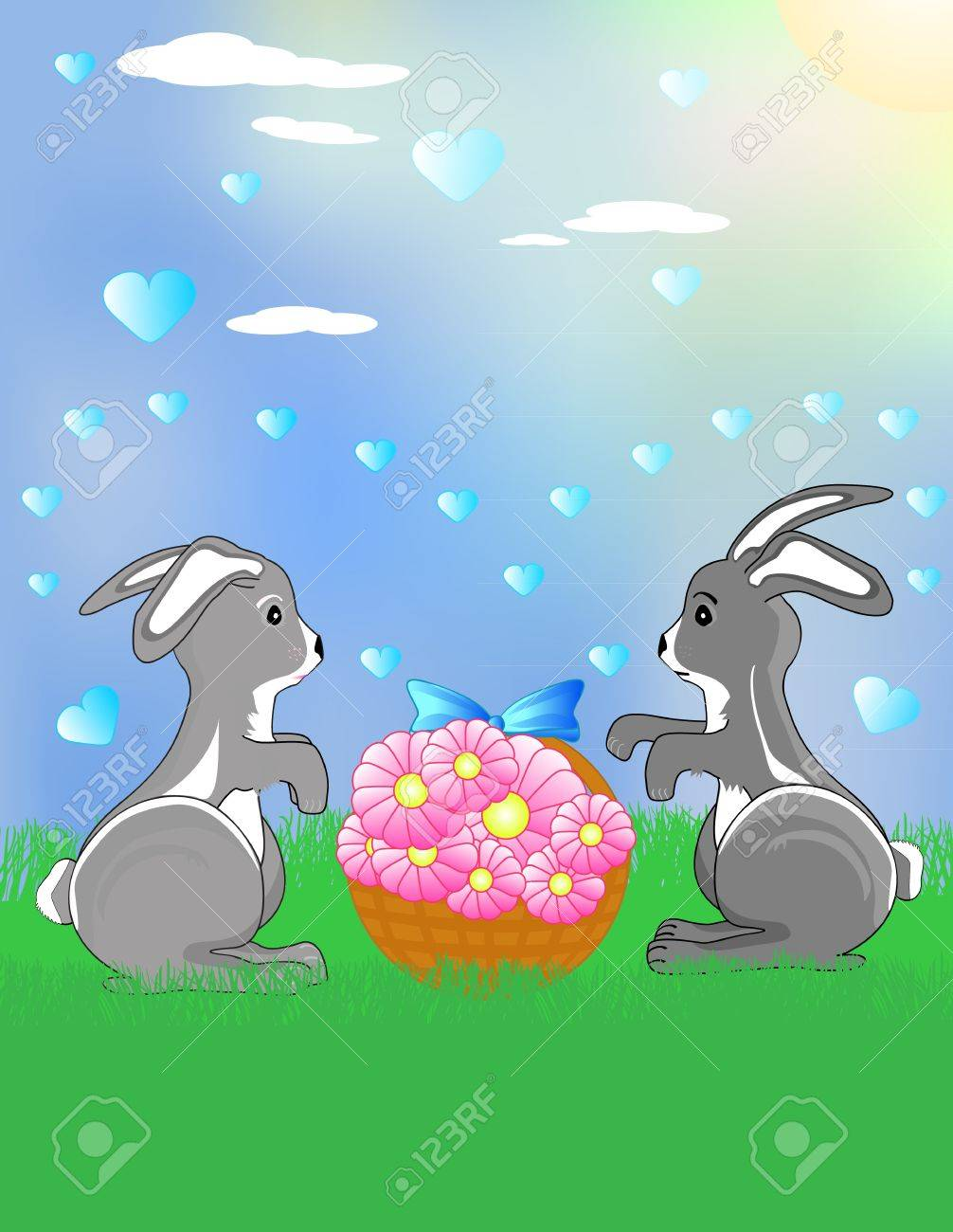 Two funny bunnies on the meadow with the flowers Stock Vector - 17170063