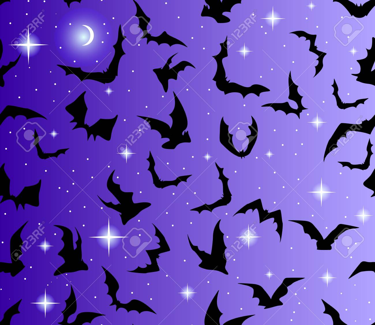Beautiful seamless with bats and stars Stock Vector - 18827644