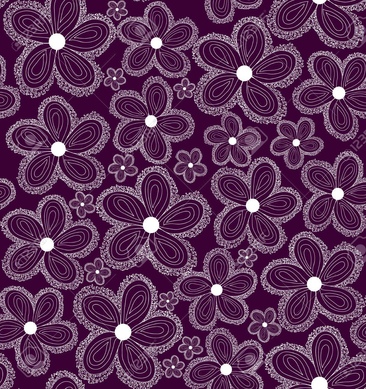 Bed sheets texture seamless - Beautiful Violet Seamless Pattern With Curling Daisy Flowers You Can Use Any Color Of Background Stock