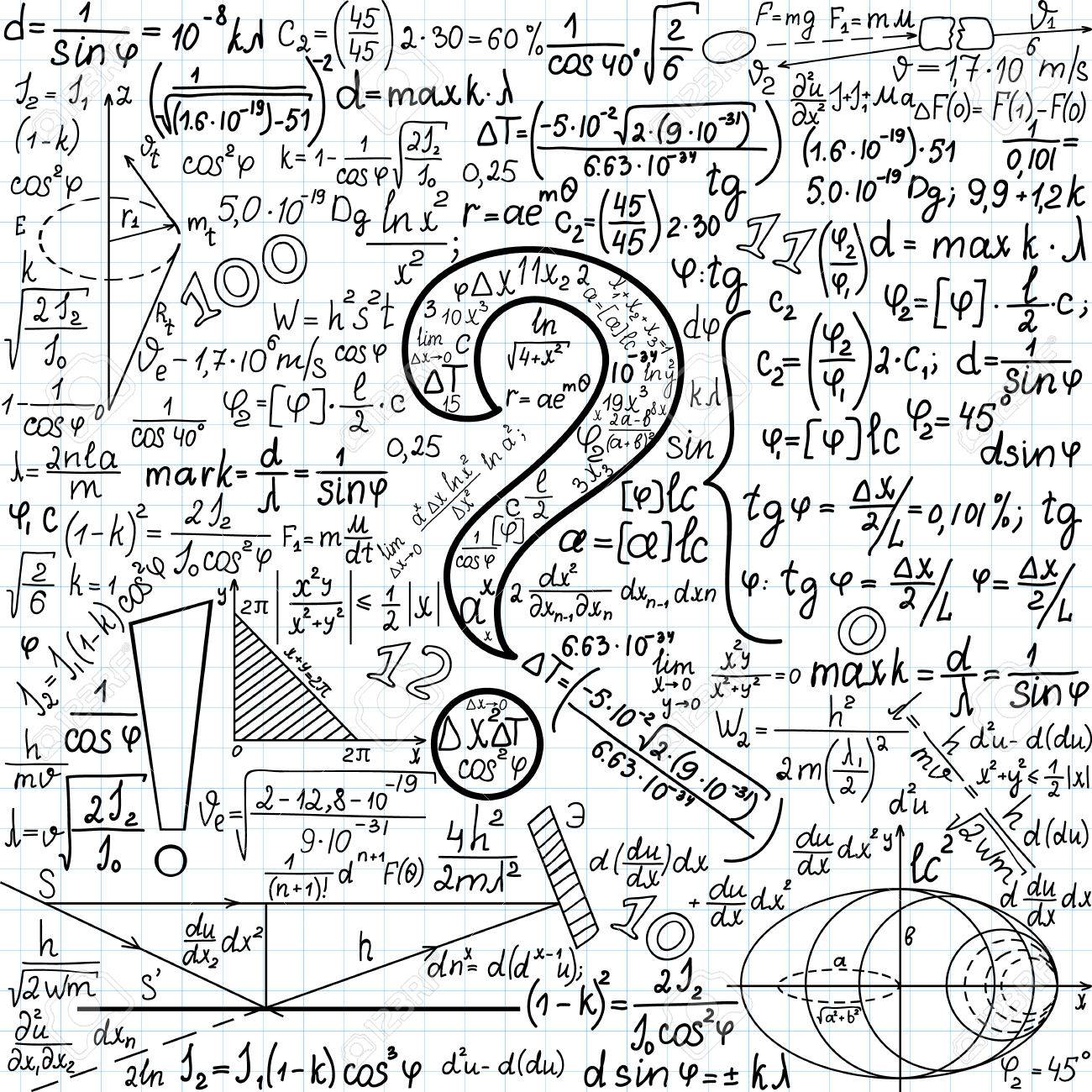 Mathematical Vector Seamless Background With Question Mark And ...