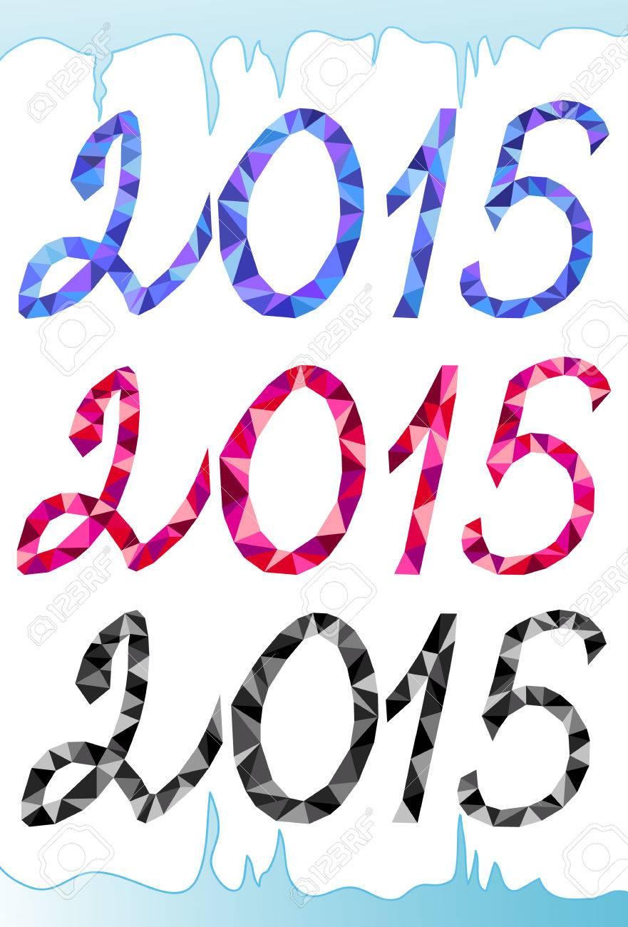 Vector 2015 Año Nuevo Texto, Números Triangulares Geométricos En ...