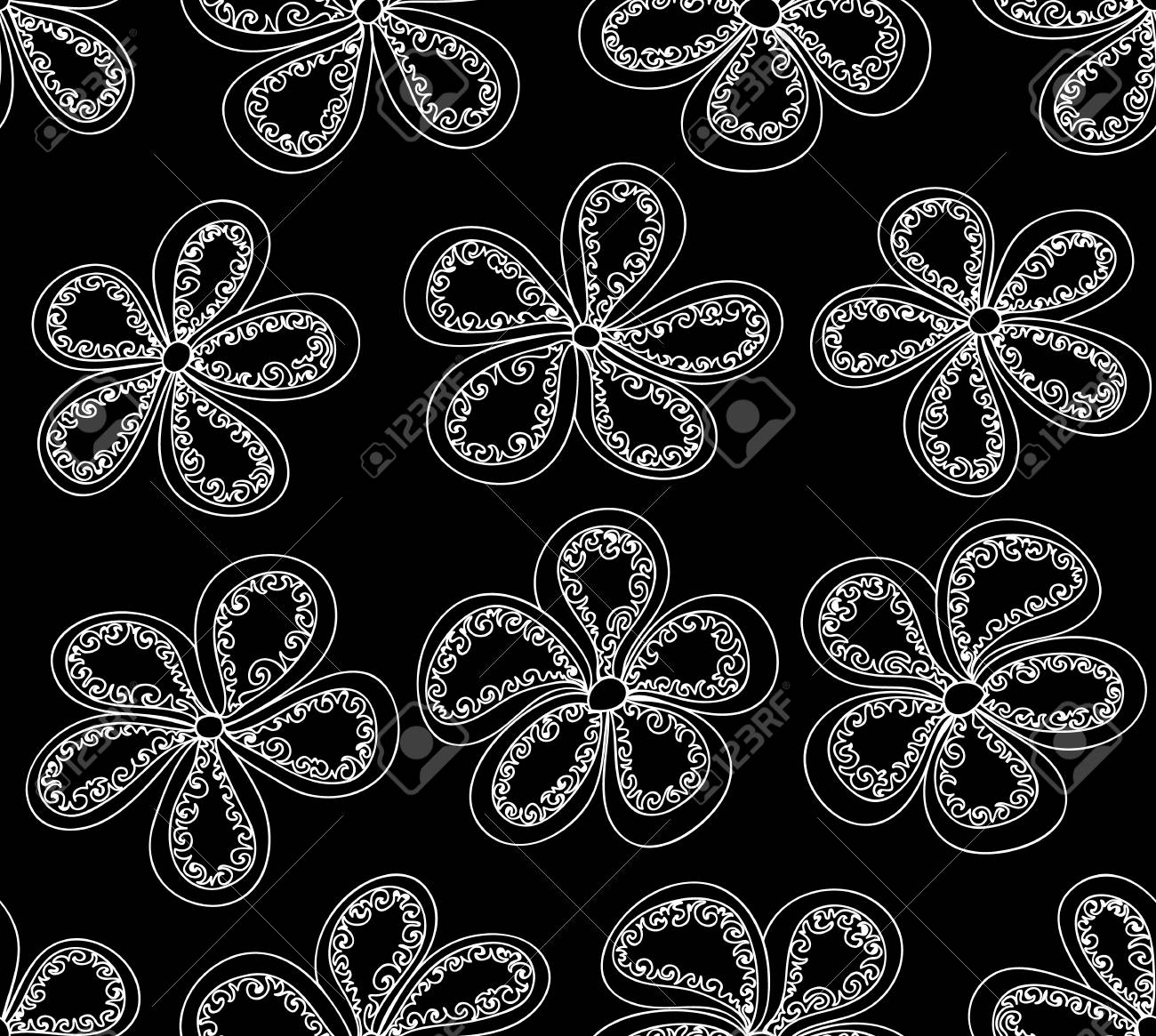 Beautiful black and white vector seamless pattern with flowers stock vector 32544540