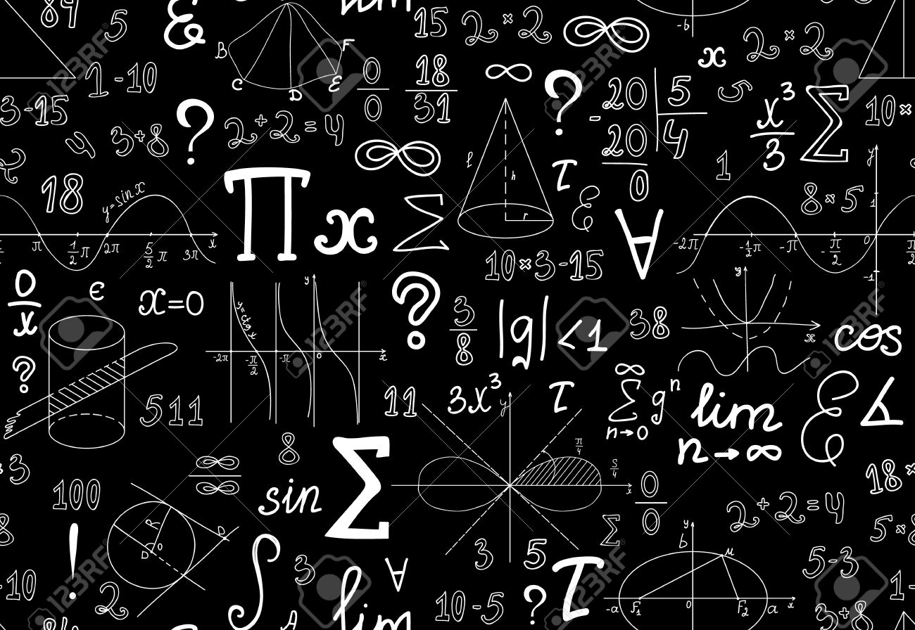 Vector mathematical seamless texture with various mathematical vector mathematical seamless texture with various mathematical signs figures and handwritten numbers stock vector biocorpaavc