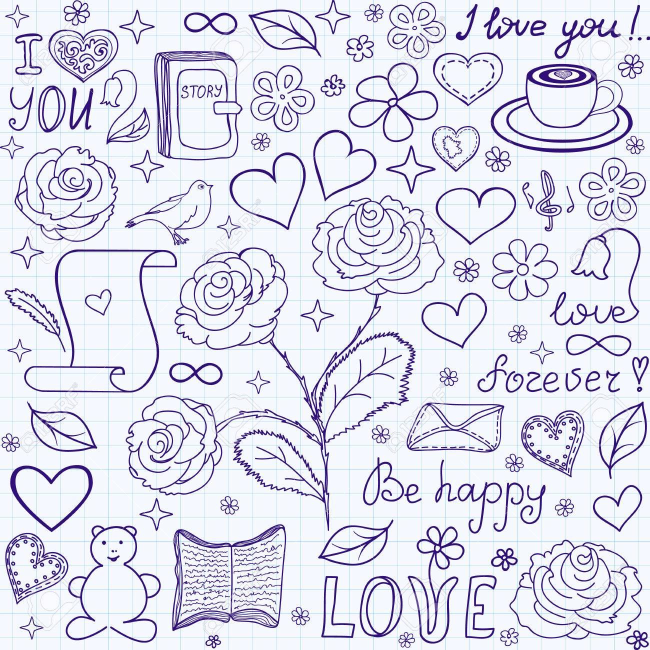 Beautiful Vector Sin Patrón Con Palabras De Amor Libros Y Corazones Escrita A Mano En El Papel Cuadriculado Cuaderno